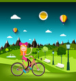 woman on bicycle with meadow on background pretty vector image vector image