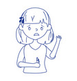 worried girl with pen in hand cartoon isolated vector image