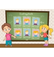 Yearbook for school with boy girl and chalkboard vector image vector image