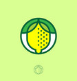 yellow lemon icon emblem organic product vector image