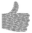 yes shape of paris texts vector image