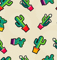 Cute stitching cactus plant icons seamless pattern vector image