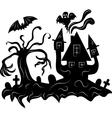 Haunted house halloween background vector image