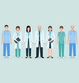 hospital staff set of seven man and woman doctors vector image