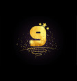 9 nine number icon design with golden star and vector image vector image