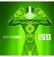 A man in a virtual reality helmet vector image vector image