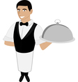a waiter in a bow tie vector image vector image