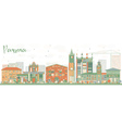 Abstract Parma Skyline with Color Buildings vector image vector image