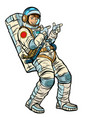 astronaut young man points isolate on a white vector image vector image