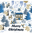 awesome winter merry christmas card with house in vector image