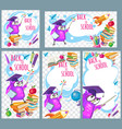 back to school template posts in social networks vector image