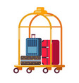 baggage or luggage suitcases on golden cart hotel vector image vector image