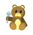 bear teddy cute toy with rattle vector image vector image