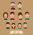 big family tree cartoon concept with avatar icons vector image vector image