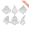 black line christmas tree collection vector image