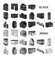 building and architecture black icons in set vector image vector image