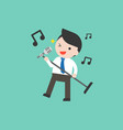 businessman holding microphone and singing flat vector image