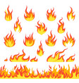 cartoon fire set hot temperature curve painting vector image