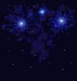 celebration blue fireworks over night sky vector image vector image