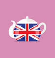 ceramic teapot with flag great britain vector image vector image