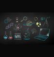 chalk drawn set office supplies vector image vector image