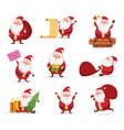christmas characters funny santa in dynamic vector image vector image