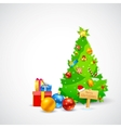 Christmas Gift and Pine Tree vector image vector image