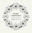 christmas wreath poinsettia flower floral wreath vector image vector image
