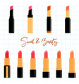colorful lipstick collection set flat design vector image vector image