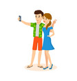 couple travels around the world make joint photo vector image