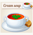 cream soup detailed icon vector image vector image