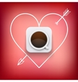 cup of coffee and heart with arrow background vector image