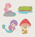 cute mermaid fairytale character with items vector image vector image
