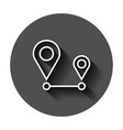 distance pin icon in flat style gps navigation on vector image