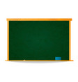 empty green school chalkboard in wooden frame with vector image vector image