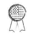 figure emblem with flag of usa inside vector image vector image