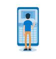flat man standing behind huge phone vector image vector image