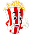 funny paper box cup popcorn smiling cartoon vector image vector image