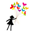 girl silhouette flying with heart shape balloons vector image