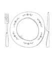 hand drawn of plate and fraje vector image vector image