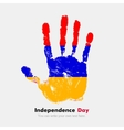Handprint with the Armenian flag in grunge style vector image vector image