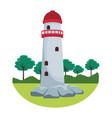 lighthouse rural landscape vector image