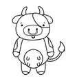 line cute and happy cow wild animal vector image vector image