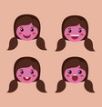 little purple girls emoticon set kawaii characters vector image vector image