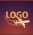logo an airplane on sunset background vector image vector image
