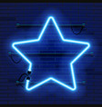 neon lamp star frame on brick wall background vector image vector image