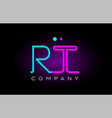 neon lights alphabet rt r t letter logo icon vector image vector image