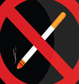 no smoking sign on black background vector image
