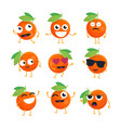 oranges - isolated cartoon emoticons vector image vector image