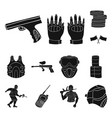 paintball team game black icons in set collection vector image